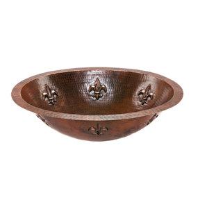 Oval Fleur De Lis Under Counter Hammered Copper Sink
