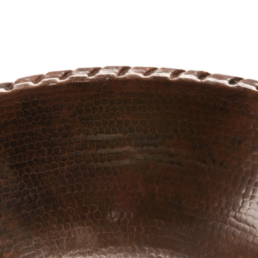 View a Larger Image of Oval Roped Rim Self Rimming Hammered Copper Sink