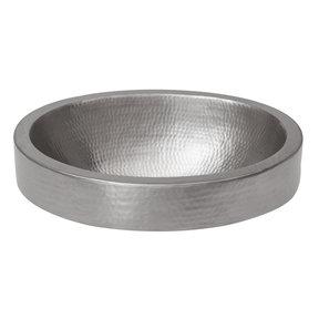 Oval Skirted Vessel Hammered Copper Sink in Nickel