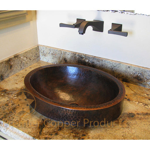 View a Larger Image of Oval Skirted Vessel Hammered Copper Sink