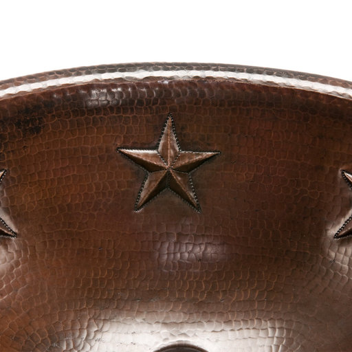View a Larger Image of Oval Star Self Rimming Hammered Copper Sink