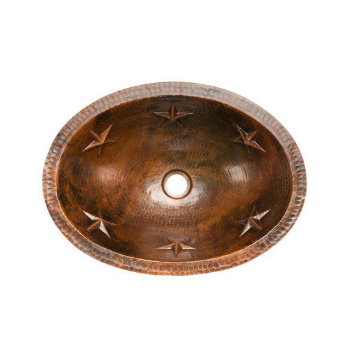 View a Larger Image of Oval Star Under Counter Hammered Copper Bathroom Sink