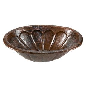 Oval Sunburst Self Rimming Hammered Copper Sink