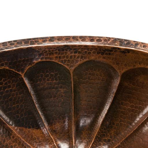 View a Larger Image of Oval Sunburst Under Counter Hammered Copper Sink