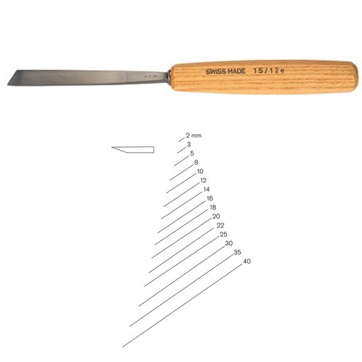 View a Larger Image of #1 Sweep Single Bevel Skew Chisel 5 mm Full Size