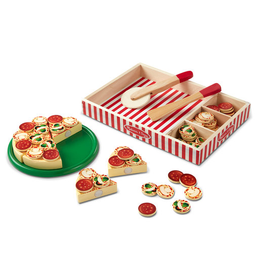 View a Larger Image of Pizza Party Wooden Play Food, Pretend Play Pizza Set, Self-Sticking Tabs, 54+ Pieces, 1.8″ H × 9″ W × 13.3″ L