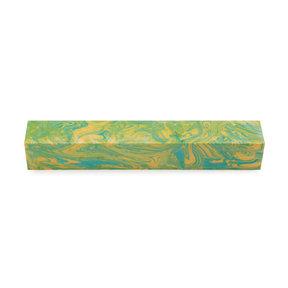 "Polyag Pen Blank - 3/4"" x 3/4"" x 5"" - Yellow & Green"