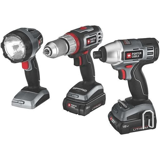 View a Larger Image of Porter-Cable 18V Lithium 3 Tool Combo Kit, Model PCL318IDC-2