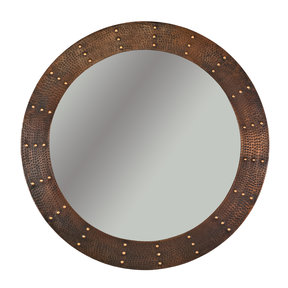 """34"""" Hand Hammered Round Mirror with Hand Forged Rivets"""