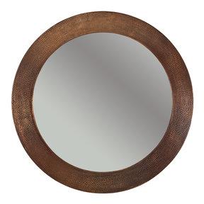 """34"""" Hand Hammered Round Mirror"""
