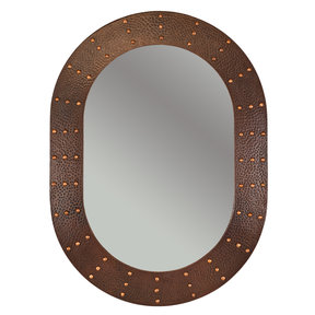 """35"""" Hand Hammered Oval Mirror with Hand Forged Rivets"""