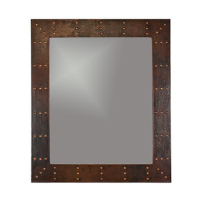 """36"""" Hand Hammered Rectangle Mirror with Hand Forged Rivets"""