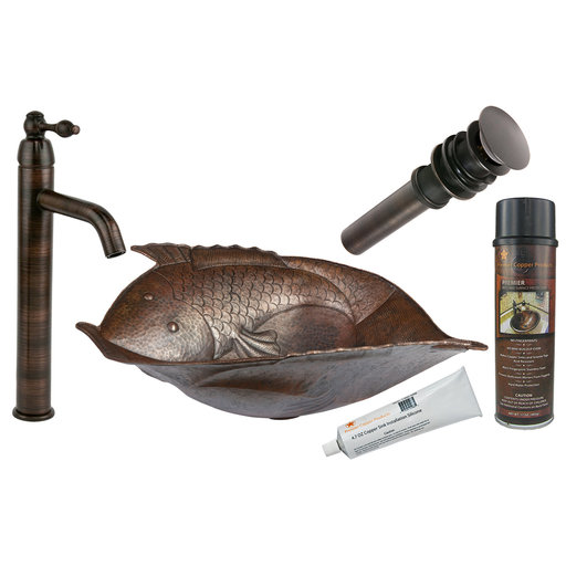 View a Larger Image of Two Fish Vessel Hammered Copper Sink, Faucet and Accessories Package, Oil Rubbed Bronze