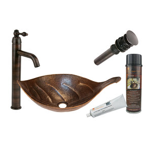 Leaf Vessel Hammered Copper Sink, Faucet and Accessories Package, Oil Rubbed Bronze