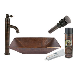 Modern Rectangle Hand Forged Old World Copper Vessel Sink, Faucet and Accessories Package, Oil Rubbed Bronze