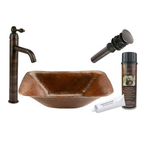 Rectangle Hand Forged Old World Copper Vessel Sink, Faucet and Accessories Package, Oil Rubbed Bronze