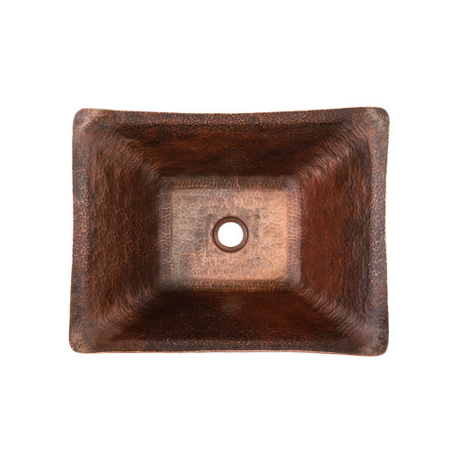 View a Larger Image of Rectangle Hand Forged Old World Copper Vessel Sink, Faucet and Accessories Package, Oil Rubbed Bronze