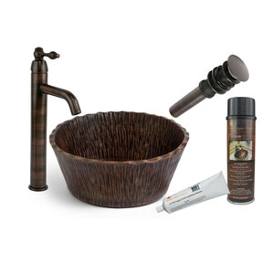 Round Forest Vessel Hammered Copper Sink, Faucet and Accessories Package, Oil Rubbed Bronze