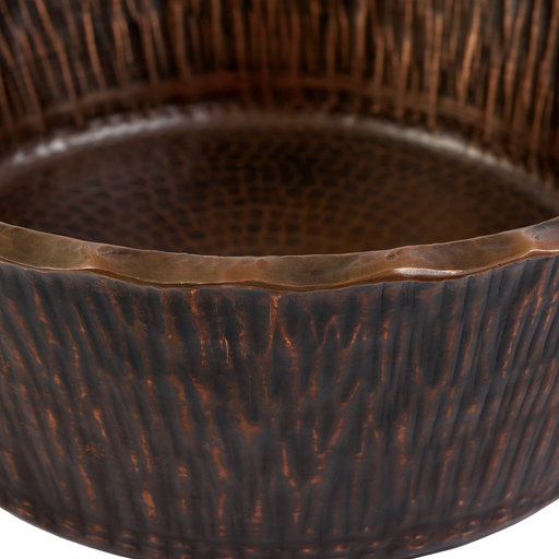 View a Larger Image of Round Forest Vessel Hammered Copper Sink, Faucet and Accessories Package, Oil Rubbed Bronze