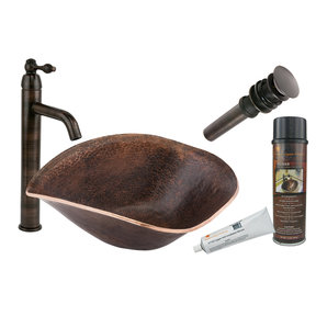 Free Form Hand Forged Old World Copper Vessel Sink, Faucet and Accessories Package, Oil Rubbed Bronze