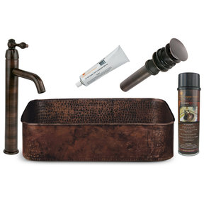 19 inch Rectangle Tub Hand Forged Old World Copper Vessel Sink, Faucet and Accessories Package, Oil Rubbed Bronze