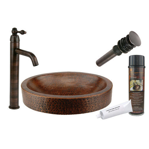 View a Larger Image of Compact Oval Skirted Hammered Copper Sink, Faucet and Accessories Package, Oil Rubbed Bronze