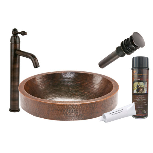 View a Larger Image of Oval Skirted Vessel Hammered Copper Sink, Faucet and Accessories Package, Oil Rubbed Bronze