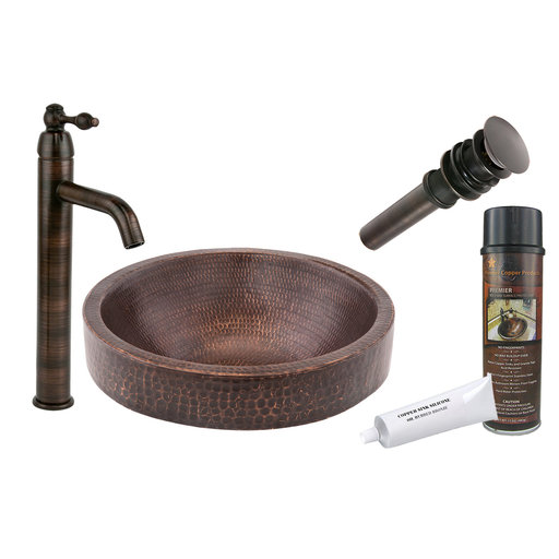 View a Larger Image of Small Round Skirted Vessel Hammered Copper Sink, Faucet and Accessories Package, Oil Rubbed Bronze