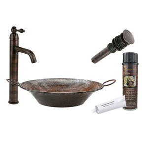 Round Miners Pan Vessel Hammered Copper Sink, Faucet and Accessories Package, Oil Rubbed Bronze