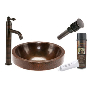 Round Skirted Vessel Hammered Copper Sink, Faucet and Accessories Package, Oil Rubbed Bronze