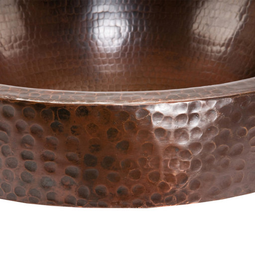 View a Larger Image of Round Skirted Vessel Hammered Copper Sink, Faucet and Accessories Package, Oil Rubbed Bronze