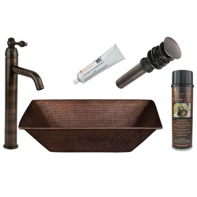 17 inch Rectangle Wired Rim Vessel Hammered Copper Sink, Faucet and Accessories Package, Oil Rubbed Bronze