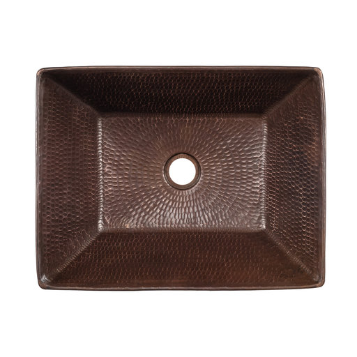 View a Larger Image of 17 inch Rectangle Wired Rim Vessel Hammered Copper Sink, Faucet and Accessories Package, Oil Rubbed Bronze