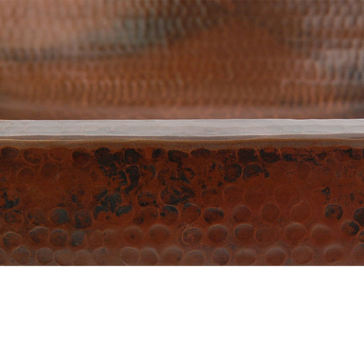 View a Larger Image of Rectangle Skirted Vessel Hammered Copper Sink, Faucet and Accessories Package, Oil Rubbed Bronze