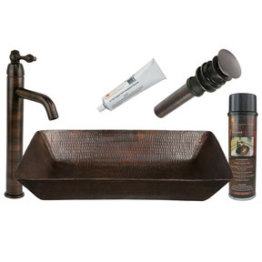 20 inch Rectangle Vessel Hammered Copper Sink, Faucet and Accessories Package, Oil Rubbed Bronze