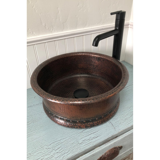 View a Larger Image of Round Vessel Tub Hammered Copper Sink, Faucet and Accessories Package, Oil Rubbed Bronze