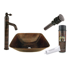Square Vessel Hammered Copper Sink, Faucet and Accessories Package, Oil Rubbed Bronze