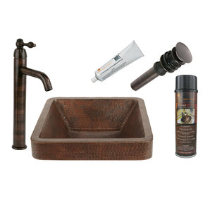 Square Skirted Vessel Hammered Copper Sink, Faucet and Accessories Package, Oil Rubbed Bronze