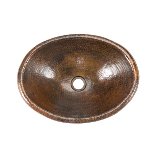 View a Larger Image of Small Oval Self Rimming Hammered Copper Sink, Faucet and Accessories Package, Oil Rubbed Bronze