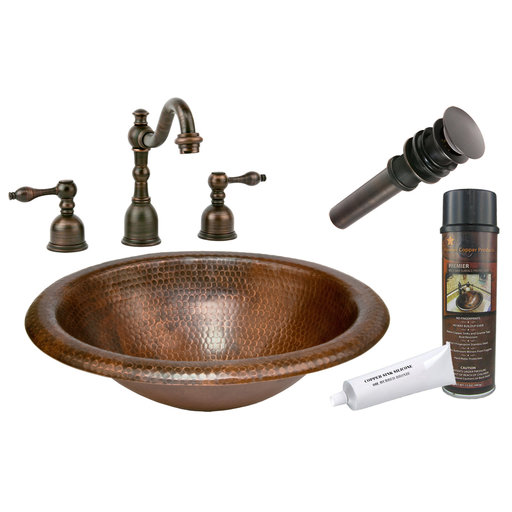 View a Larger Image of Wide Rim Oval Self Rimming  Hammered Copper Sink, Faucet and Accessories Package, Oil Rubbed Bronze