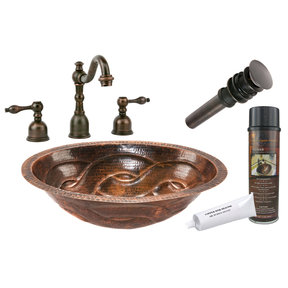 Oval Braid Under Counter Hammered Copper Sink, Faucet and Accessories Package, Oil Rubbed Bronze