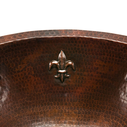 View a Larger Image of Oval Fleur De Lis Under Counter Hammered Copper Sink, Faucet and Accessories Package, Oil Rubbed Bronze