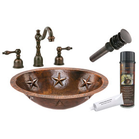 Oval Star Under Counter Hammered Copper Bathroom Sink, Faucet and Accessories Package, Oil Rubbed Bronze