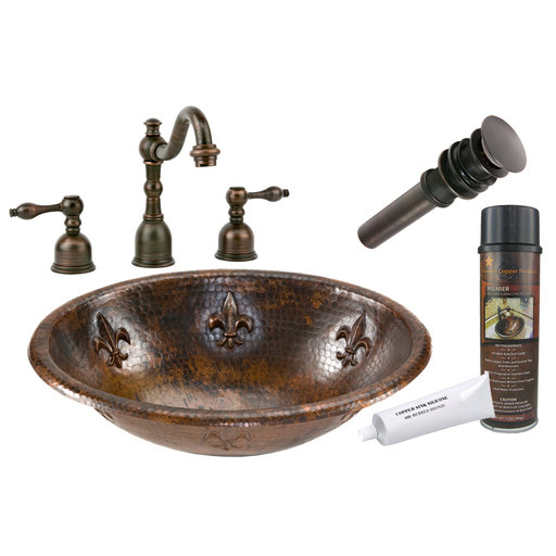 View a Larger Image of Oval Fleur De Lis Self Rimming Hammered Copper Sink, Faucet and Accessories Package, Oil Rubbed Bronze