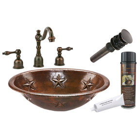 Oval Star Self Rimming Hammered Copper Sink, Faucet and Accessories Package, Oil Rubbed Bronze