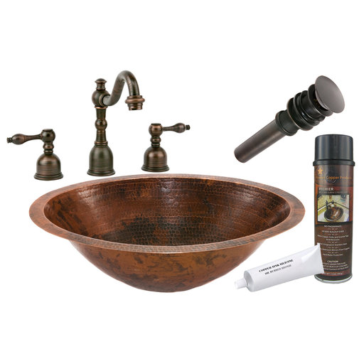 View a Larger Image of Master Bath Oval Under Counter Hammered Copper Bathroom Sink, Faucet and Accessories Package, Oil Rubbed Bronze