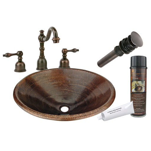 View a Larger Image of Master Bath Oval Self Rimming Hammered Copper Bathroom Sink, Faucet and Accessories Package, Oil Rubbed Bronze