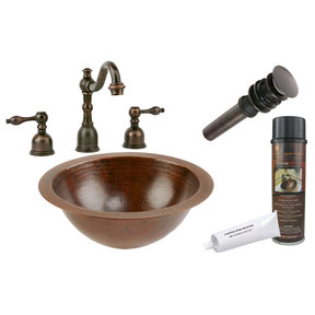 Small Round Under Counter Hammered Copper Sink, Faucet and Accessories Package, Oil Rubbed Bronze