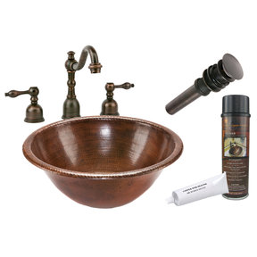 Round Self Rimming Hammered Copper Sink, Faucet and Accessories Package, Oil Rubbed Bronze