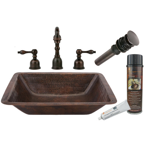 View a Larger Image of Rectangle Under Counter Hammered Copper Bathroom Sink, Faucet and Accessories Package, Oil Rubbed Bronze